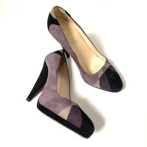 Prada Almond Toe Purple Colorblock Suede Heels 35